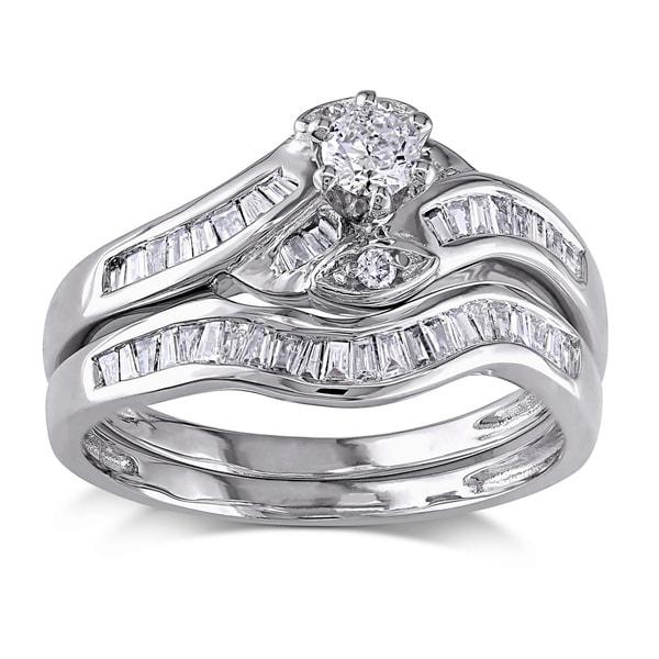 Miadora 14k White Gold 1/2ct TDW Diamond Bridal Ring Set