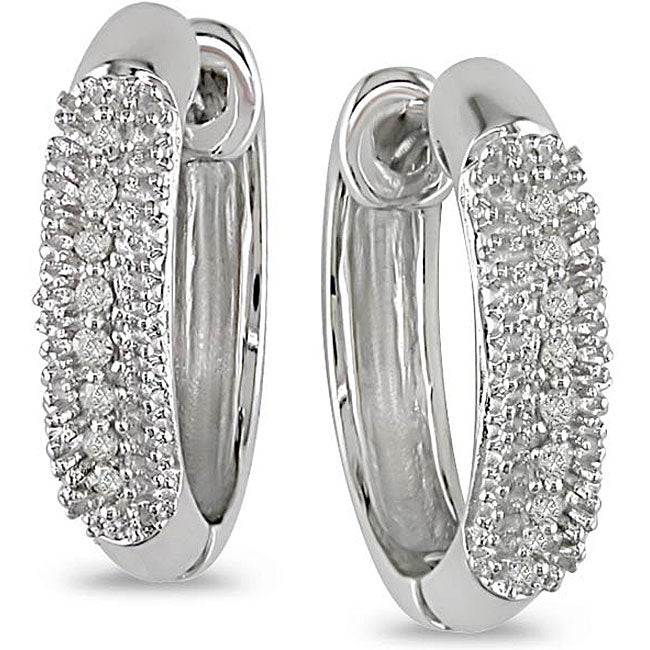 Miadora 14k Gold 1/10ct TDW Diamond Hoop-style Earrings (HI, I1-I2)