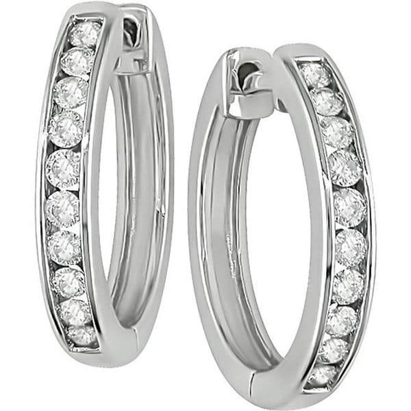 Miadora 14k White Gold 1/2ct TDW Diamond Hoop Earrings