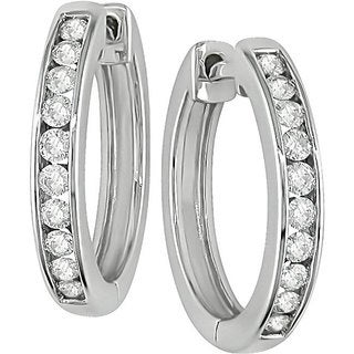 Miadora 14k White Gold 1/2ct TDW Diamond Hoop Earrings