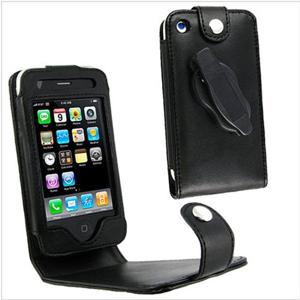 INSTEN Leather Phone Case Cover w/ Belt Clip for Apple 3G iPhone, Black