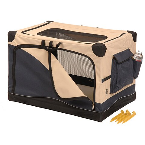 Precision Pet Navy/Tan Softside Water Resistant Canvas Pet Crate