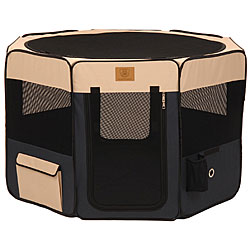 Precision Pet Navy/ Tan Small Softside Play Pen