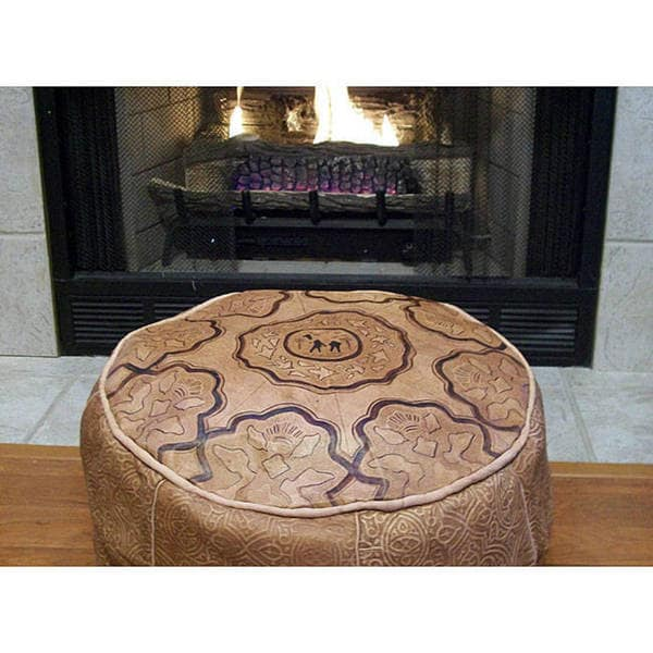 Handmade Genuine Leather Camel Ottoman Pouf (Morocco)