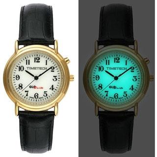 Timetech Men's Glo-Brite Dial Goldtone Round Watch