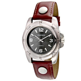Timetech Men's Brown Leather Strap Silvertone Watch