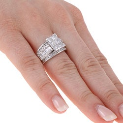 Eloquence 14k White Gold 2ct TDW Contemporary Diamond Engagement Ring (H, I1)