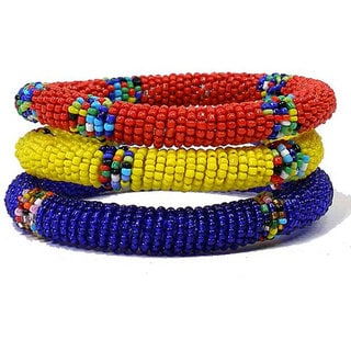 Set of 3 Red/ Blue/ Yellow Massai Bangles (Kenya)
