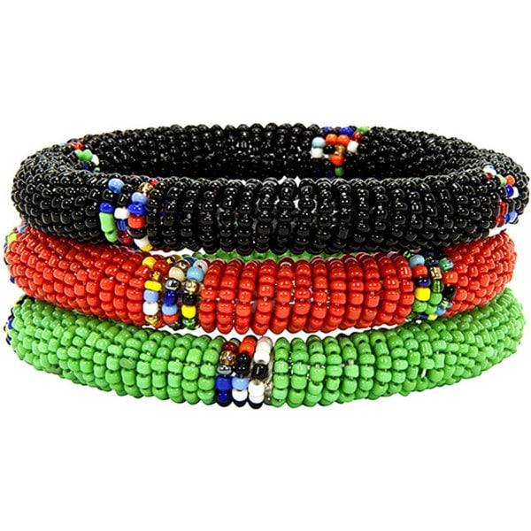 Handmade Set of Three Green/ Red/ Black Massai Bangles (Kenya)