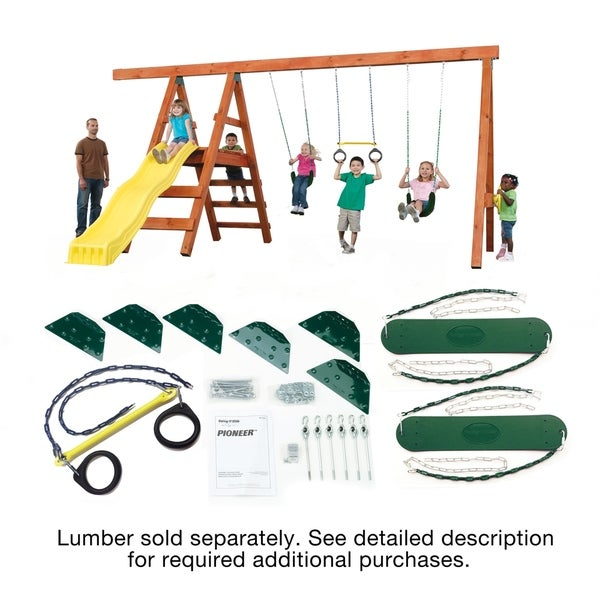 Swing-N-Slide Pioneer Swing Set DIY Hardware Kit (lumber not included) - 192L x 168W x 96H. Opens flyout.