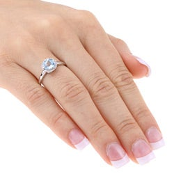 Miadora 10k Gold Checkerboard-cut Blue Topaz and Diamond Ring - Thumbnail 2