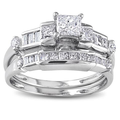 14k White Gold 1ct TDW Baguette and Princess-Cut Diamond Bridal Ring Set