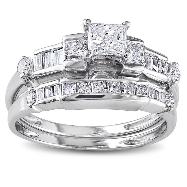 14k White Gold 1ct TDW Baguette and Princess-Cut Diamond Bridal Ring Set