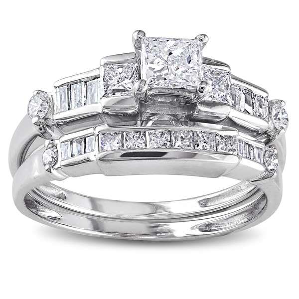 14k white gold 1ct tdw baguette and princess cut diamond bridal ring set - Princess Cut Diamond Wedding Ring Sets