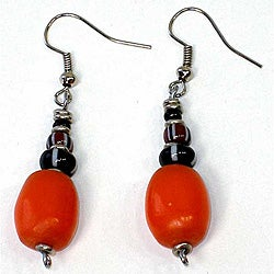 Handcrafted Orange Resin Bead Earrings (Kenya)