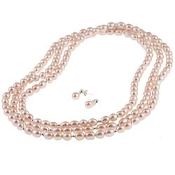 DaVonna Silver Pink FW Pearl 64-inch Necklace and Earring Set (7-8 mm)