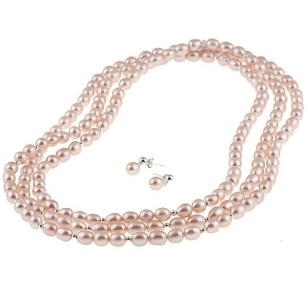 Davonna Silver Pink Fw Pearl 64 Inch Necklace And Earring Set 7 8
