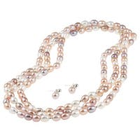 DaVonna Silver Multi Pink FW Pearl 64-inch Necklace and Earring Set (7-8 mm)