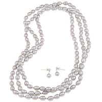DaVonna Silver 7-8 mm Grey Freshwater Pearl Necklace 64-inch and Earring Set