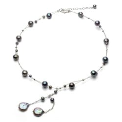 DaVonna Silver Black Fresh Water Round and Coin Pearl Tin Cup Necklace (4-14 mm)