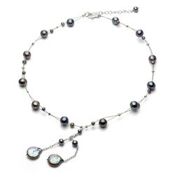 DaVonna Silver Black Freshwater Round and Coin Pearl Tin Cup Necklace (4-14 mm)