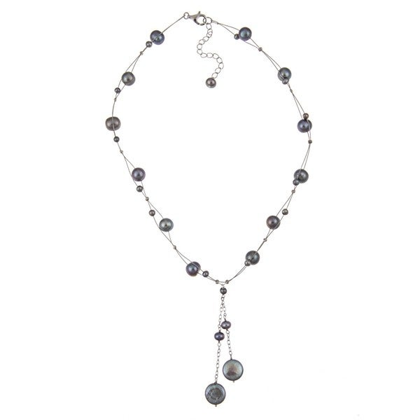 DaVonna Sterling Silver Grey Freshwater Coin Pearl Necklace (13-14 mm)
