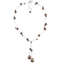 DaVonna Silver Brown FW Round and Coin Pearl Tin Cup Necklace (4-14 mm)