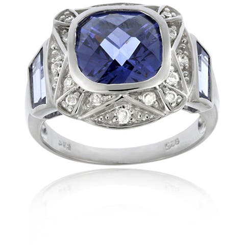 Icz Stonez Sterling Silver Blue Tanzanite and Clear CZ Square Ring