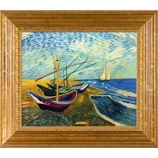 Vincent van Gogh 'Boats At St. Marie's' Framed Art