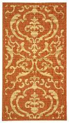 Safavieh Bimini Damask Terracotta/ Natural Indoor/ Outdoor Rug (2' x 3'7) - Thumbnail 1
