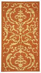 Safavieh Bimini Damask Terracotta/ Natural Indoor/ Outdoor Rug (2' x 3'7) - Thumbnail 2