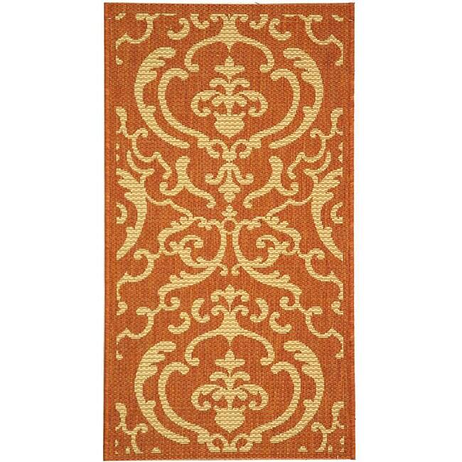 Safavieh Bimini Damask Terracotta/ Natural Indoor/ Outdoor Rug (2' x 3'7)