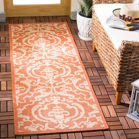"Safavieh Bimini Damask Terracotta/ Natural Indoor/ Outdoor Runner (2'4 x 6'7) - 2'3"" x 6'7"" Runner"