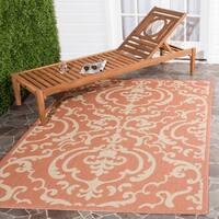 Safavieh Bimini Damask Terracotta/ Natural Indoor/ Outdoor Rug (4' x 5'7) - 4' x 5'7