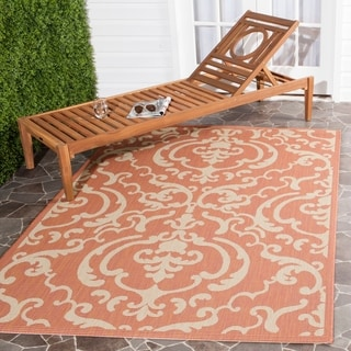 Safavieh Bimini Damask Terracotta/ Natural Indoor/ Outdoor Rug (5'3 x 7'7)