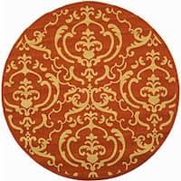 "Safavieh Bimini Damask Terracotta/ Natural Indoor/ Outdoor Rug - 5'3"" x 5'3"" round"