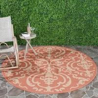 "Safavieh Bimini Damask Terracotta/ Natural Indoor/ Outdoor Rug - 6'7"" x 6'7"" round"