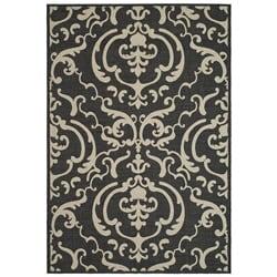 Safavieh Bimini Damask Black/ Sand Indoor/ Outdoor Rug (2' x 3'7)