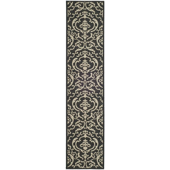 Safavieh Bimini Damask Black/ Sand Indoor/ Outdoor Runner (2'4 x 6'7)