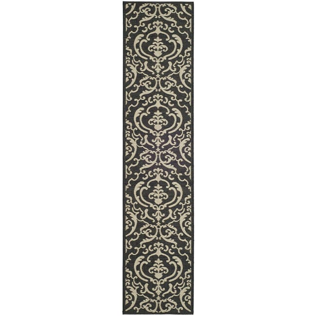 Safavieh Bimini Damask Black/ Sand Indoor/ Outdoor Runner - 2'4 x 6'7