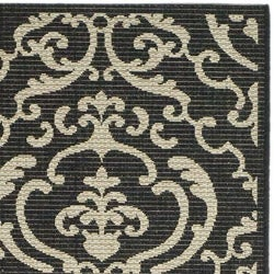 Safavieh Bimini Damask Black/ Sand Indoor/ Outdoor Runner (2'4 x 6'7) - Thumbnail 1