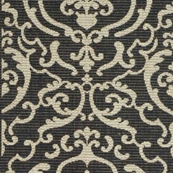 Safavieh Bimini Damask Black/ Sand Indoor/ Outdoor Runner (2'4 x 6'7) - Thumbnail 2