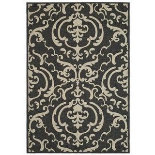 Safavieh Bimini Damask Black/ Sand Indoor/ Outdoor Rug (2'7 x 5')