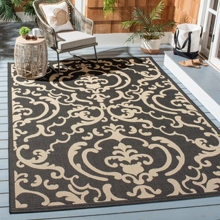 Safavieh Bimini Damask Black/ Sand Indoor/ Outdoor Rug (4' x 5'7)