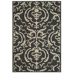 Safavieh Indoor/ Outdoor Bimini Black/ Sand Rug (5'3 x 7'7)