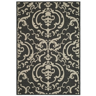 Safavieh Bimini Damask Black/ Sand Indoor/ Outdoor Rug (5'3 x 7'7)