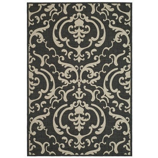 Safavieh Bimini Damask Black/ Sand Indoor/ Outdoor Rug (5'3 x 7'7) - 5'3 x 7'7
