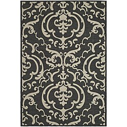 Safavieh Indoor/ Outdoor Bimini Black/ Sand Rug (6'7 x 9'6)