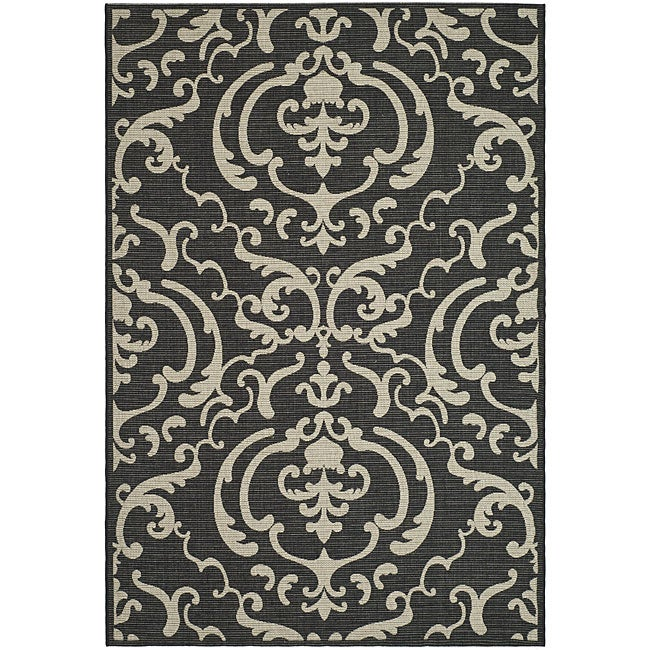 Safavieh Bimini Damask Black/ Sand Indoor/ Outdoor Rug (8' x 11')
