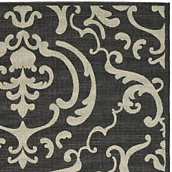Safavieh Bimini Damask Black/ Sand Indoor/ Outdoor Rug (8' x 11') - Thumbnail 1